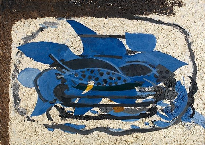 George Braque, L'aquarium bleu (Das blaue Aquarium), 1960–62 Öl auf Karton auf Leinwand, Galerie Haas AG, Zürich © VG Bild-Kunst, Bonn 2018